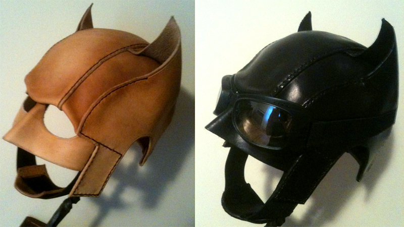 leather rockabilly batman cowl and gauntlets tested