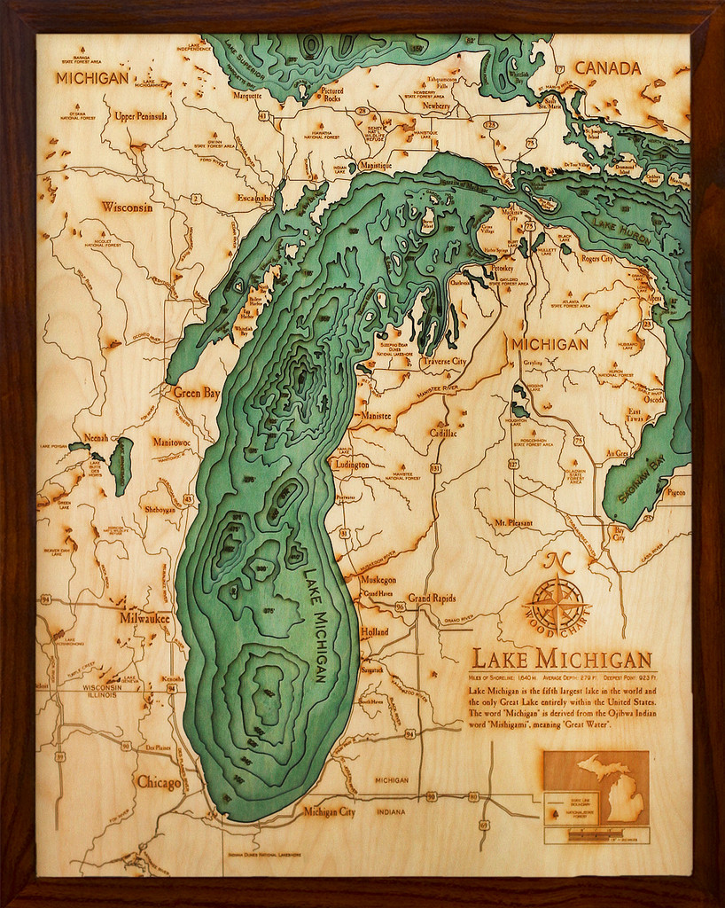 Maps Laser Cutters And Bathymetry The Amazing Wooden Charts Of - Michigan lake maps