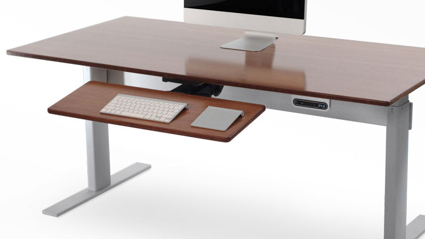 one of the main reasons we feel the nextdesk is worth the money is its spacious solid bamboo tabletop which can easily fit two computers with room to