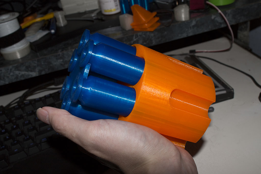 The next morning I pulled the print off the printer and took these shots.  Yeah it looks a little like the attack of a nerf gun right now.