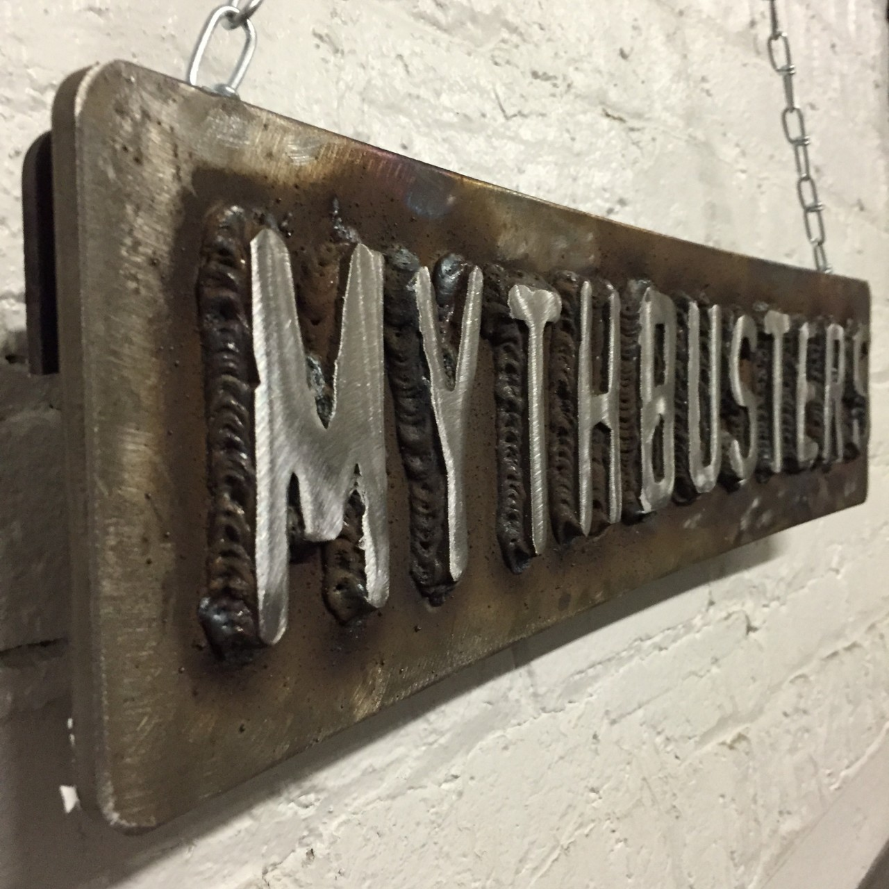 my reproduction mythbusters logo sign tested With weld on metal letters