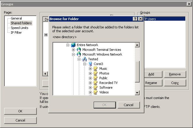 how to set up windows ftp and user default folder