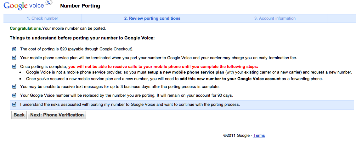 Google Voices Readies Number Porting for $20 Fee - Tested